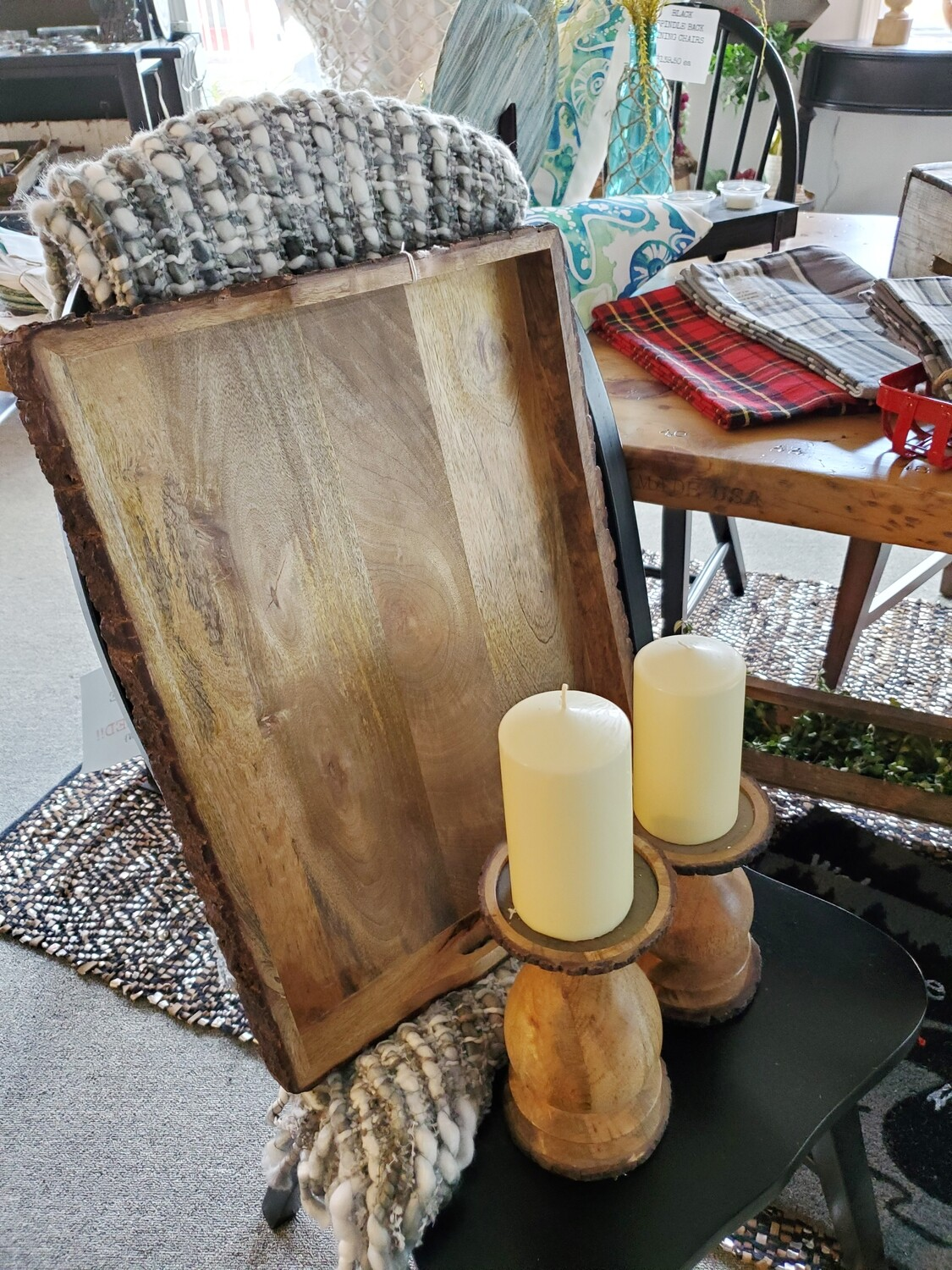 Wood Tray, Candle Sticks & Reclaimed Pillar Candle Sticks