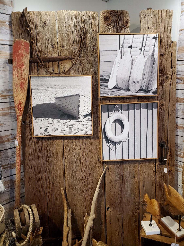 "Coastal Black & White Canvas Wood Framed Prints - 18"" Square"