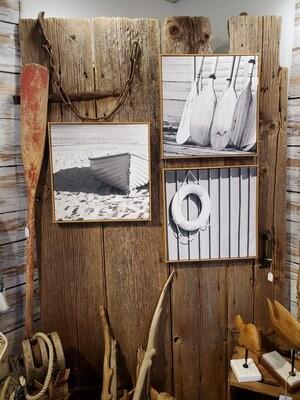 Coastal Black & White Canvas Wood Framed Prints - 18