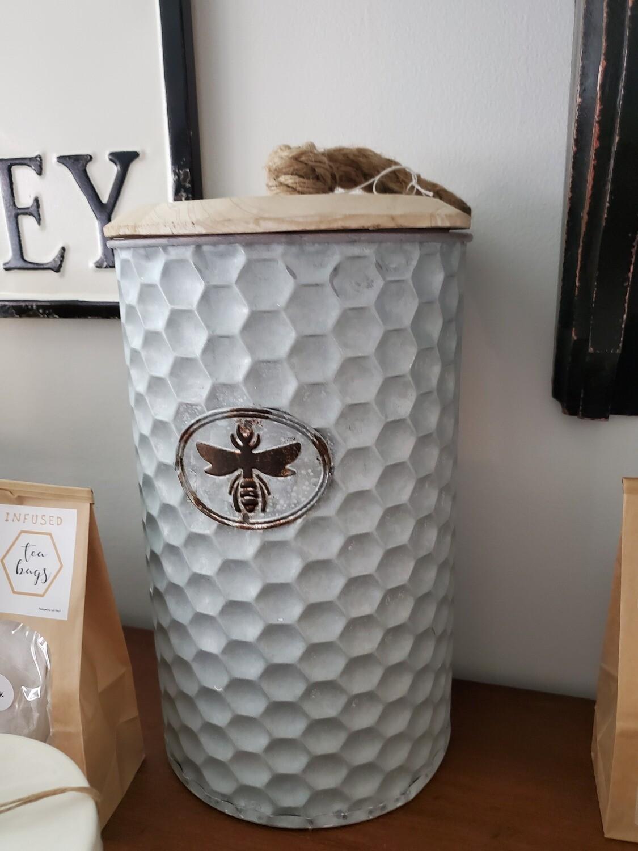 Honey Comb Bee Metal Jar