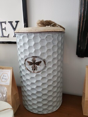 Honey Comb Bee Metal Jar