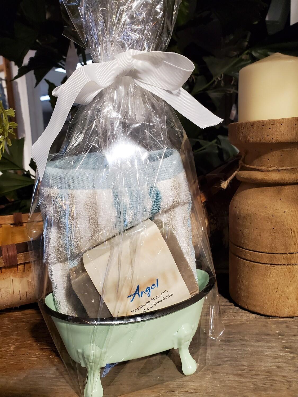 Vintage Mini Tub Soap Dish Gift Pack