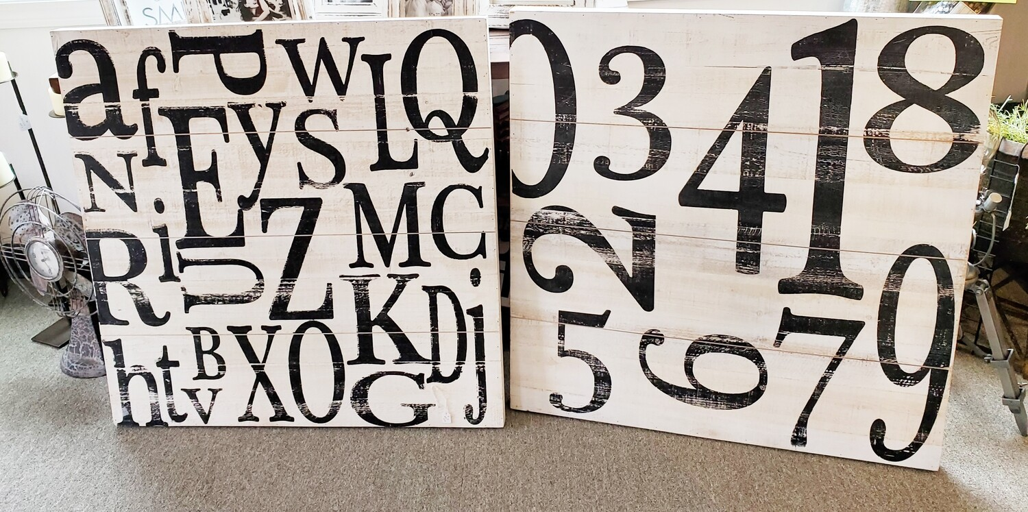 Scrambled Number & Letter Wall Art - Wood - **SALE***