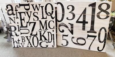 Scrambled Number & Letter Wall Art - Wood - **SALE***