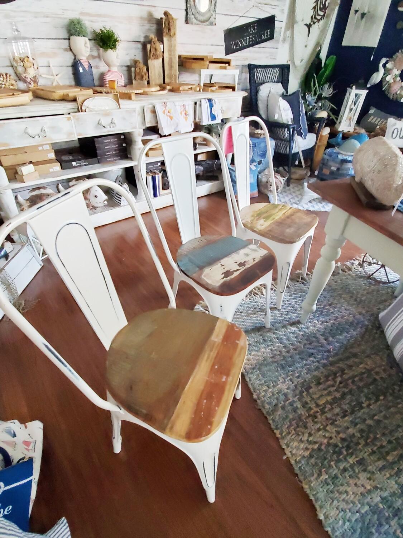 Vintage Teak Wood Seat Metal Chairs -  **SALE**