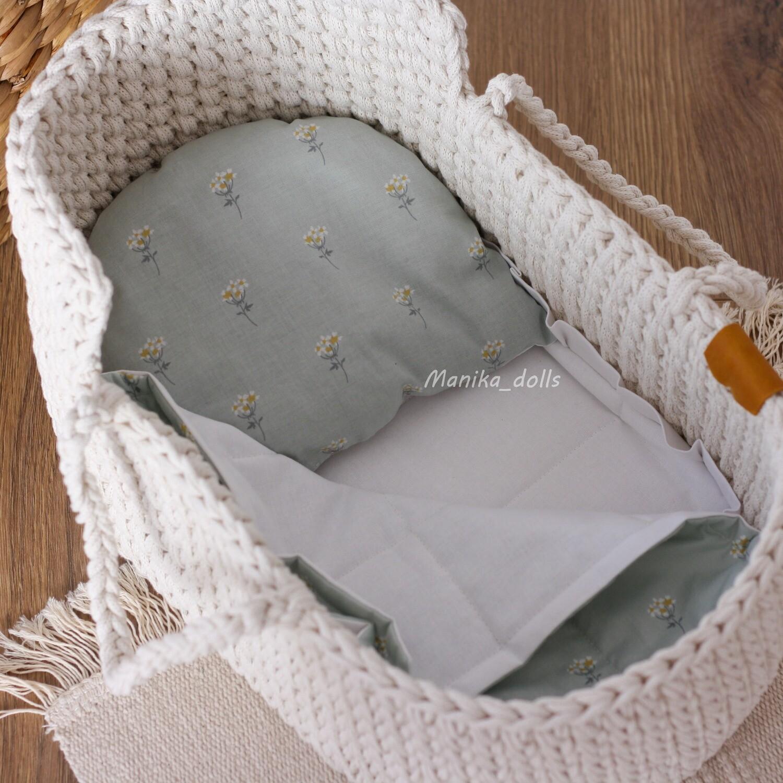 Люлька-переноска с постельным бельем для кукол 40 см