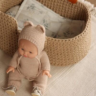 Люлька-переноска с постельным бельем для кукол