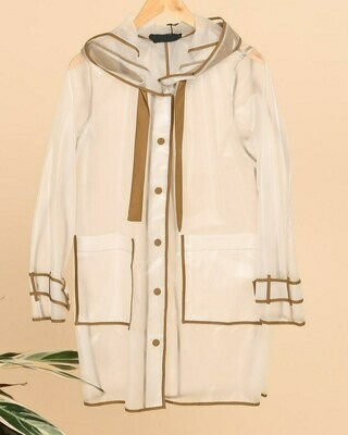 Transparent Rain Hooded Jacket with Trim.