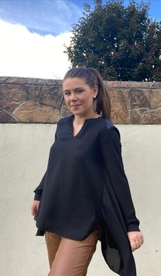 Chiffon Top with Leatherette Shoulder detail