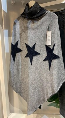 Black Star Knit Poncho
