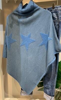 Denim Blue Star Knit Poncho