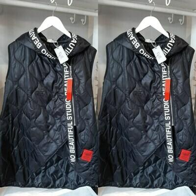 Padded Hooded Sleeveless Jacket
