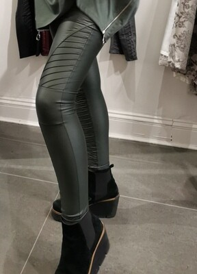 Green Biker Style Vegan Leather Leggings