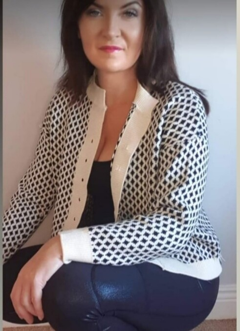 Black and White Knit Pattern Cardigan