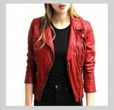 Red Biker Genuine Leather Jacket