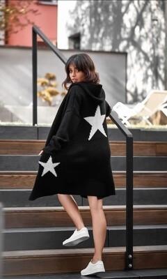 Knit Black Star Cardigan Hoody