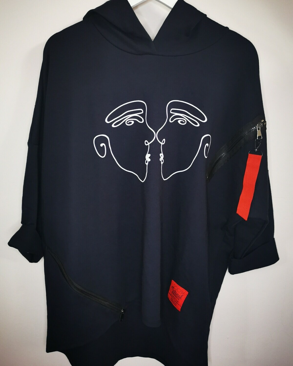 Navy Oversized Face Top