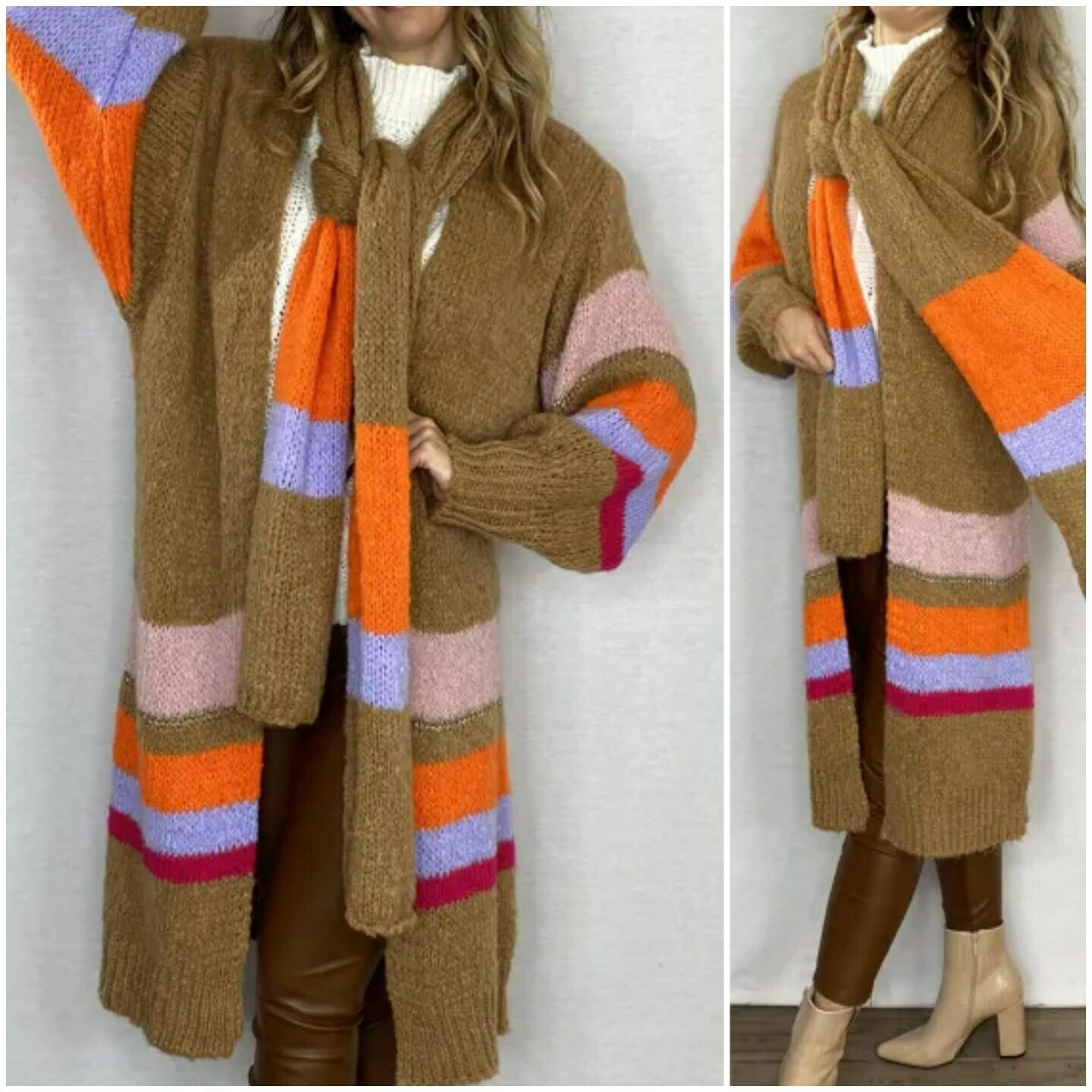 Brown Muticolour Cardigan & Matching Scarf