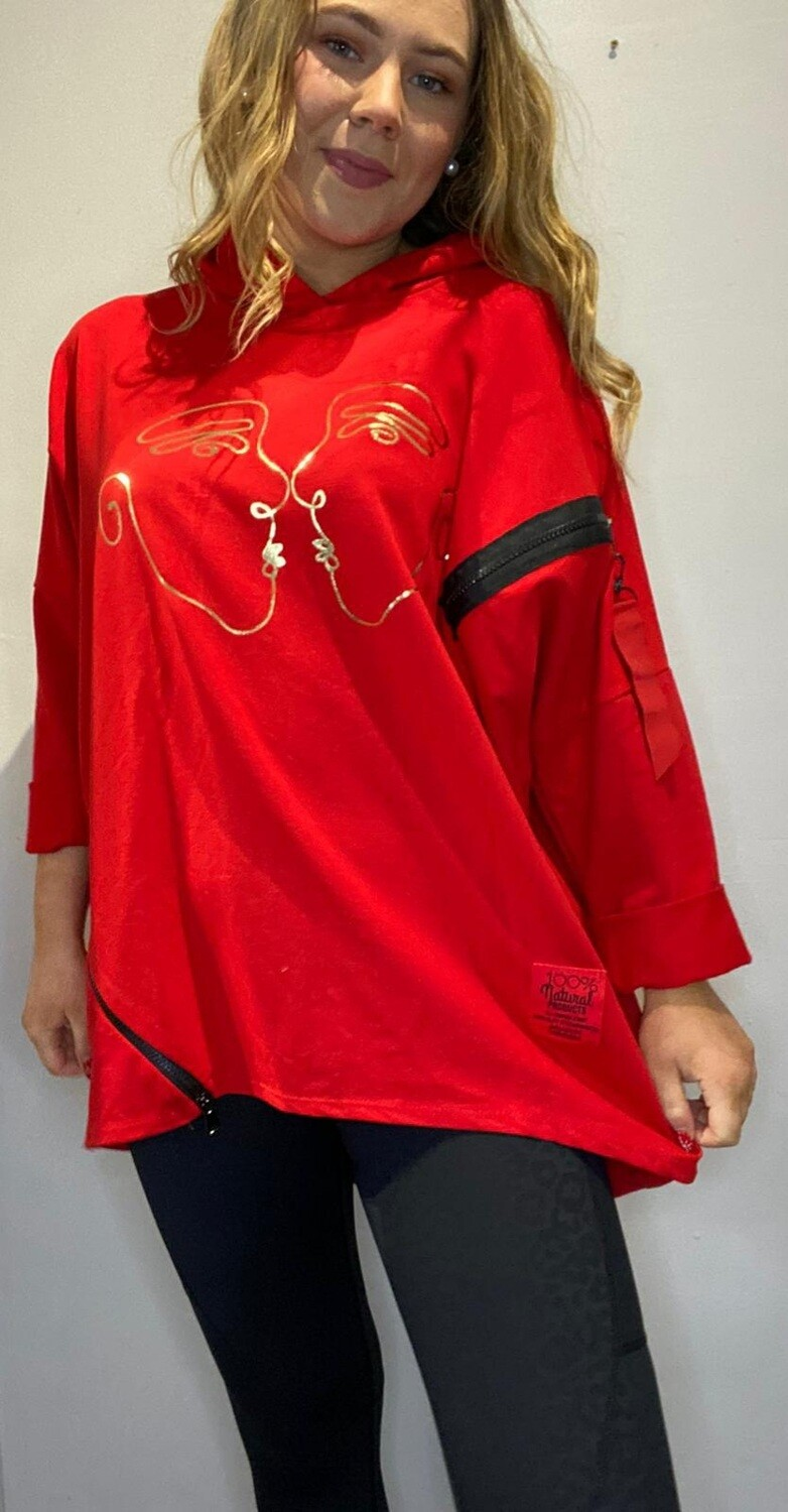 Red Gold Foil Face Hoody