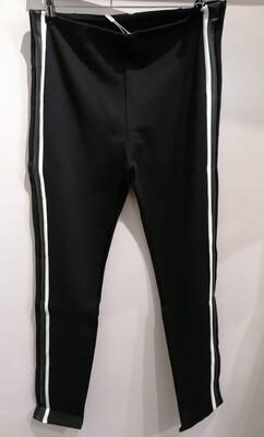 Cotton Black Leggings/ White Leg Stripe