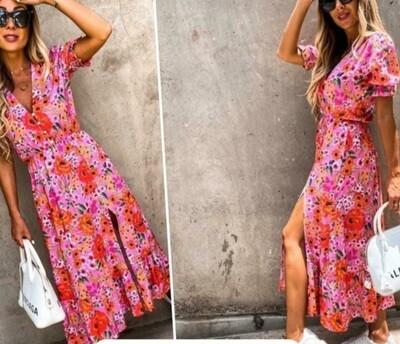 Floral Pink Boho Dress