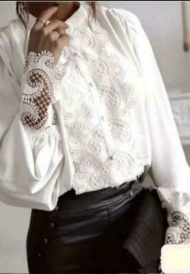 White Silky Blouse with Decorative front & Sleeves