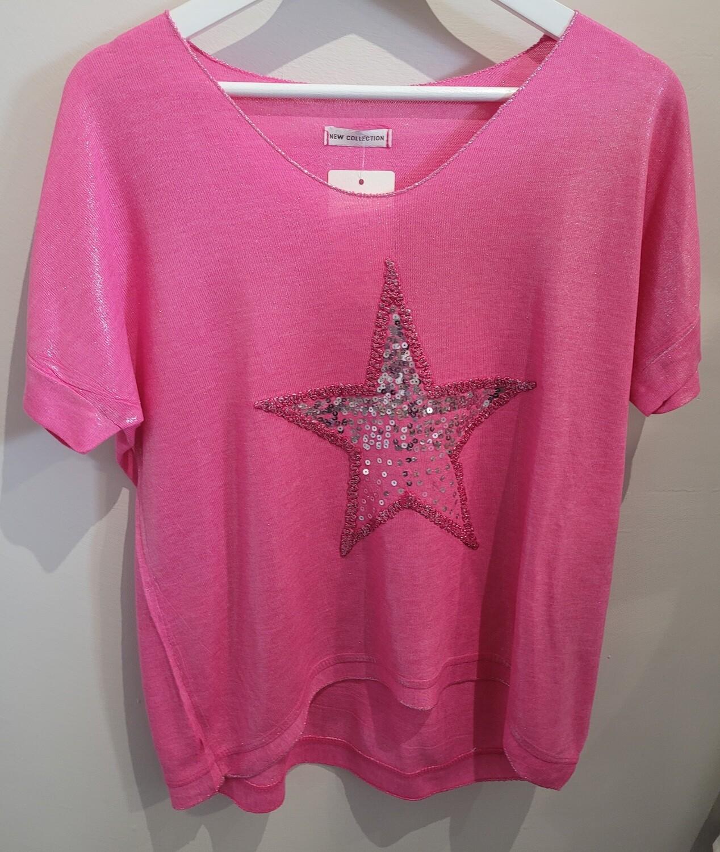 Pink Star V Neck Top