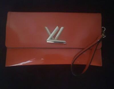 Orange Patent Clutch Bag