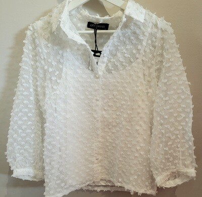 Bowie White Dressy Blouse