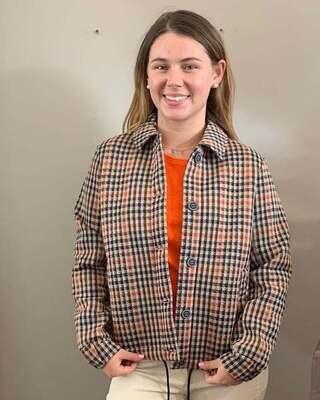 Cecil Orange & Navy Check Jacket