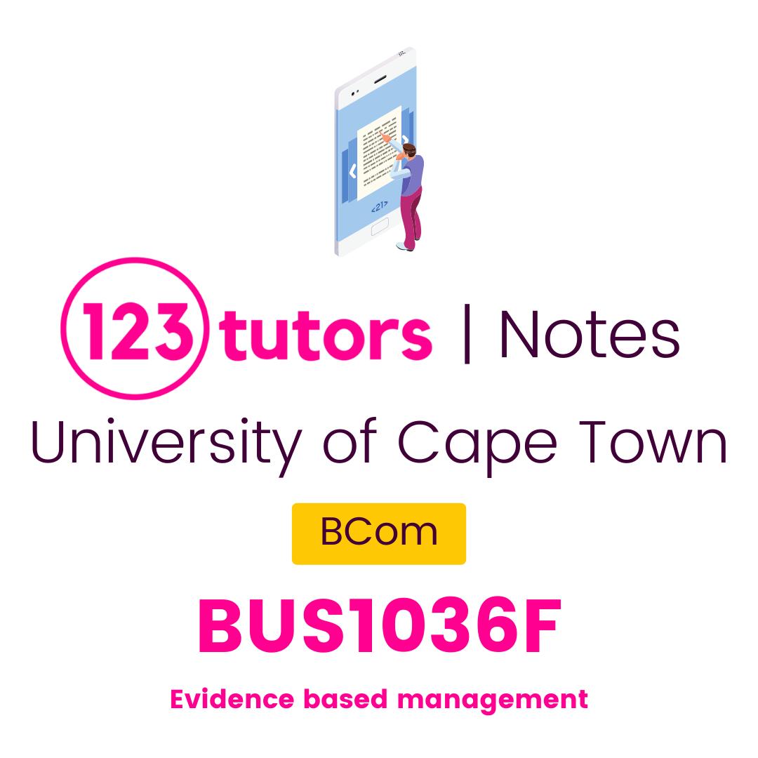 (UCT Notes) - BUS1036F: Evidence Based Management