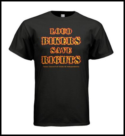 Loud Bikers Save Rights T-Shirt (black w/ red & gold print) *Printed in batches of 24 and then shipped