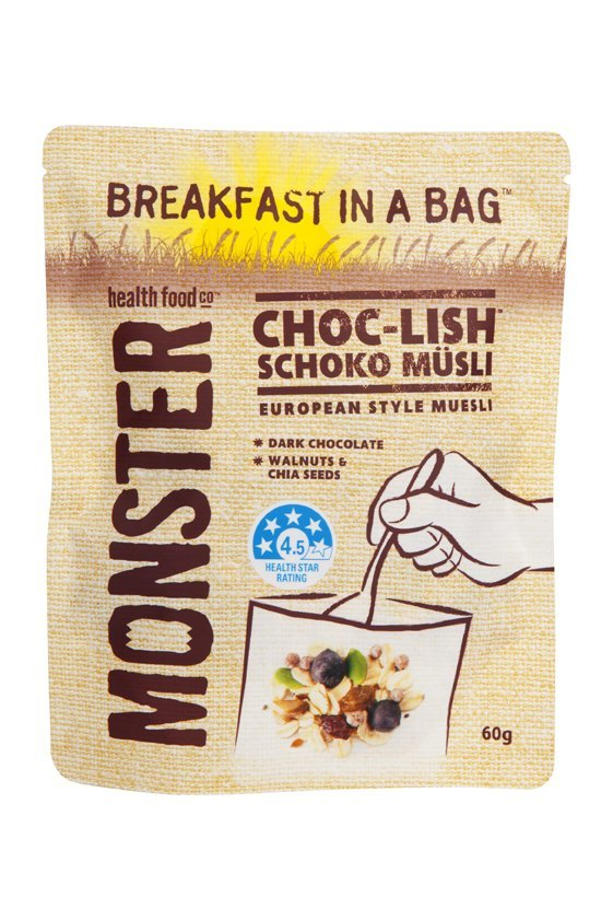 10 x 60g - Wheat Free Muesli - Breakfast in a Bag - Choc-Lish