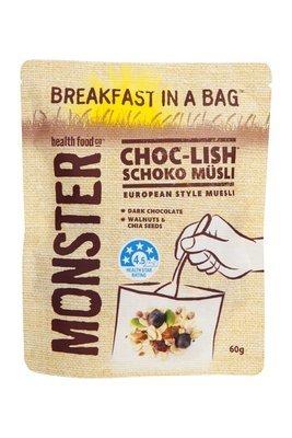 10 x 60g - Wheat Free Muesli - Breakfast in a Bag - Choc-Lish