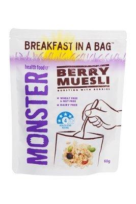 10 x 60g - Wheat Free Nut Free Muesli - Berry - Breakfast in a Bag