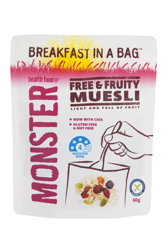 10 x 60g - Gluten Free muesli - Breakfast in a Bag - Free & Fruity