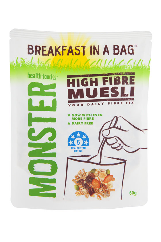10 x 60g - High Fibre muesli - Breakfast in a Bag
