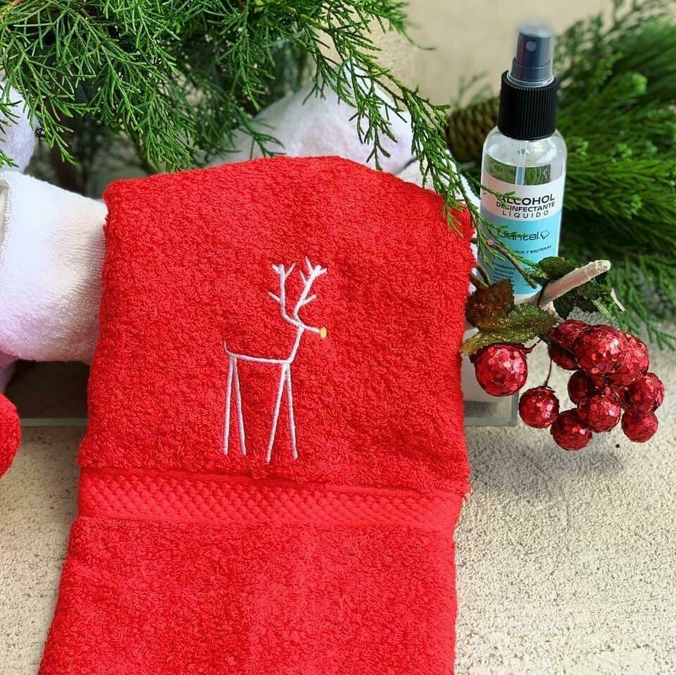Toalla Prive Manos Rojo Navidad 2020 Bordado Venado