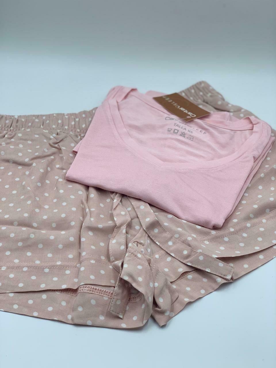 Short Pijama Cantel Sleep Dama Base Seduction Rosa/Blanco Otoño 2020