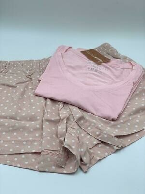 Short Pijama Cantel Sleep Dama Base Seduction Rosa/Blanco Otoño 2020