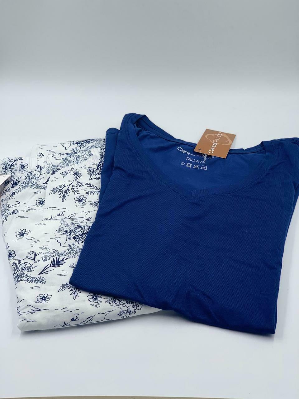 Pantalón Pijama Cantel Sleep Dama Vietella Palm Azul blanco