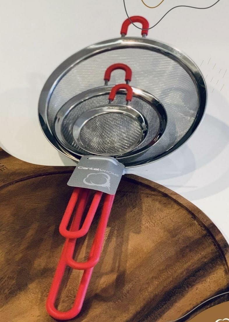 Set De 3 Coladores C/Mango Rojo Cantel Home 8, 12 Y 18 Cm