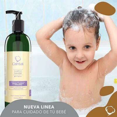 Shampoo O Acondicionador  Para Bebé Con Aceites Esenciales Lavanda & Naranja & Mandarina, Baby Cantel 500 Ml