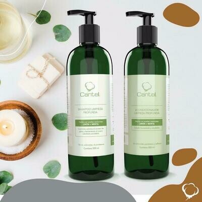 Shampoo O Acondicionador Limpieza Profunda Con Aceites Esenciales Limón & Menta, Cantel 500 Ml