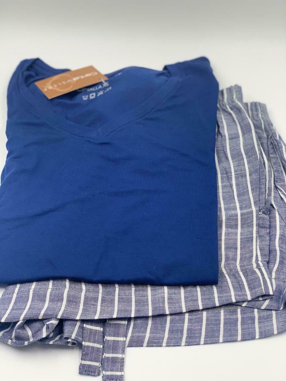 Short Pijama Cantel Sleep Dama Flama Basic Azul Otoño 2020