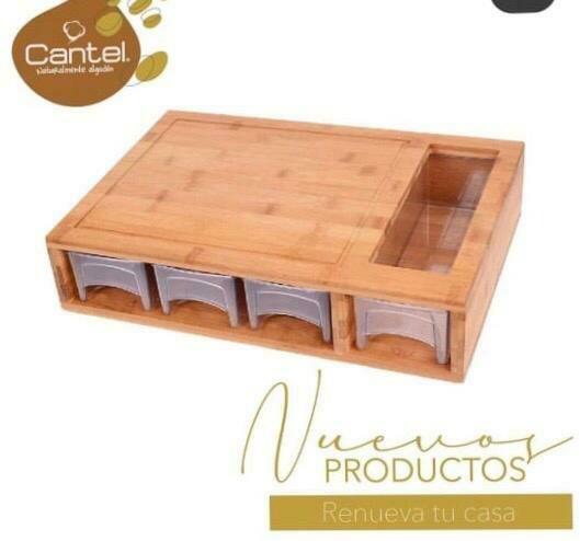 Tabla De Bambú Con Organizadores Cantel Home