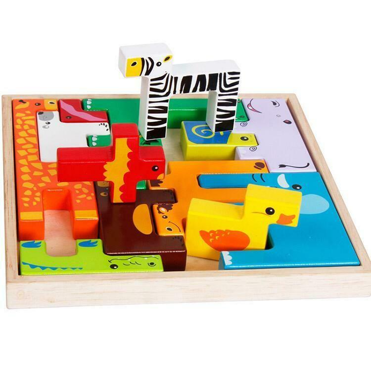 Juguete De Madera De Bloques Multifuncional Y Aprendizaje Zoo