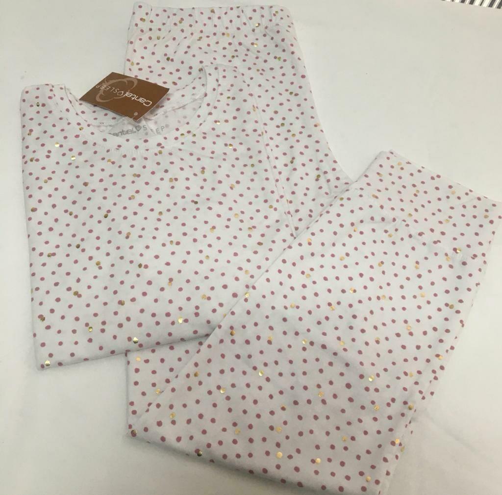 Pijama Cantel Sleep Niñas Pantalón Y Camiseta ML Algodón Puntos rosado & Puntos foil 2020