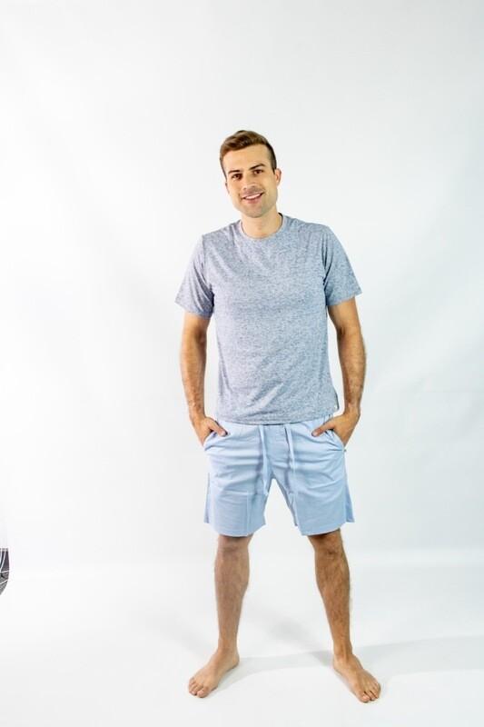Short Pijama Cantel Sleep Caballero Uniklo Celeste/Azul Verano 2021