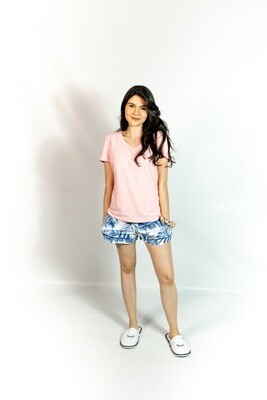 Short Pijama Cantel Sleep Dama Digital Chalis  Azul Y Blanco Verano 2021